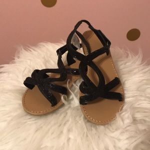NWOT girls black glitter sandals
